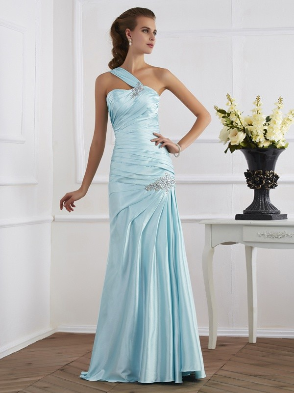 Mermaid Sleeveless One-Shoulder Ruched Long Elastic Woven Dresses