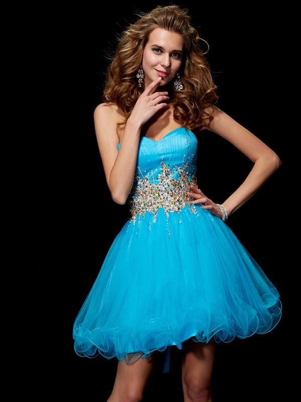 Sweetheart Sleeveless Beading Short/Mini Net Dresses