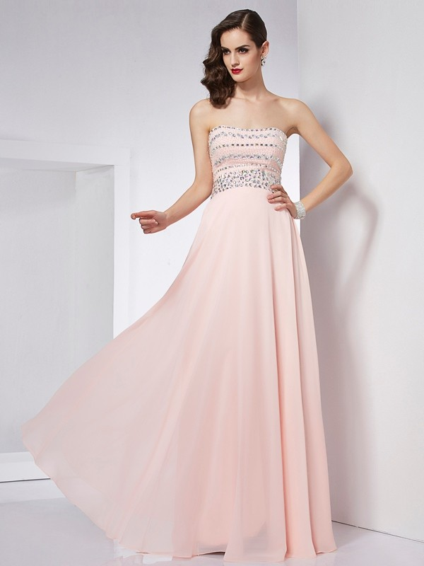 A-Line/Princess Strapless Beading Floor-Length Chiffon Dresses