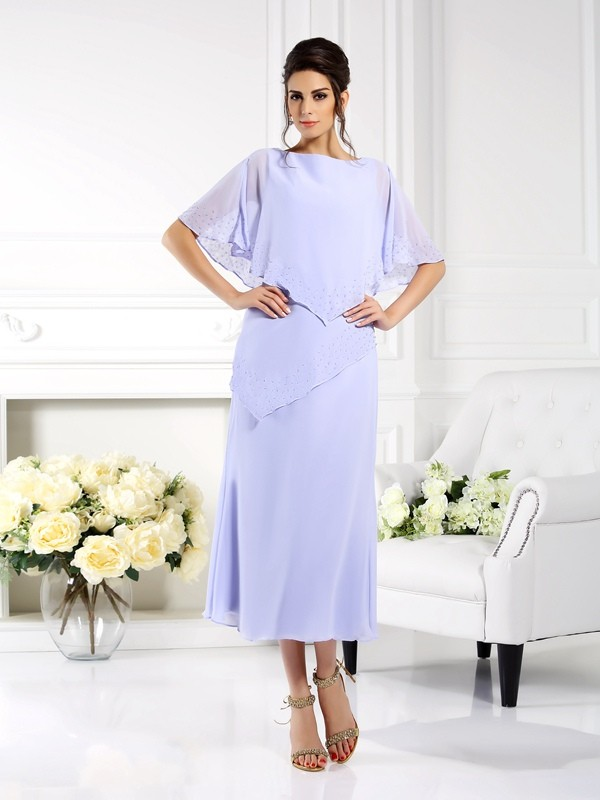 Sheath/Column Bateau 1/2 Sleeves Ankle-Length Chiffon Mother of the Bride Gowns