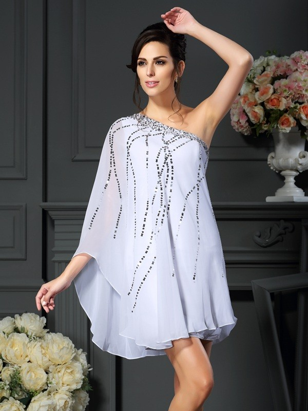 A-Line/Princess One-Shoulder Sequin Sleeveless Short/Mini Chiffon Mother of the Bride Gowns