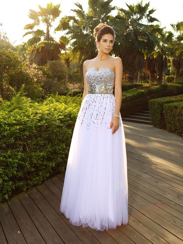 A-Line/Princess Beading Sweetheart Floor-Length Organza Dresses