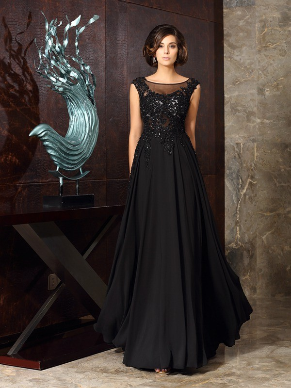 A-Line/Princess Scoop Sleeveless Chiffon Applique Floor-Length Mother of the Bride Gowns