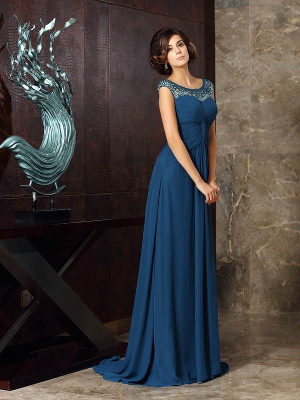 A-Line/Princess Scoop Beading Sweep/Brush Train Chiffon Mother of the Bride Dresses