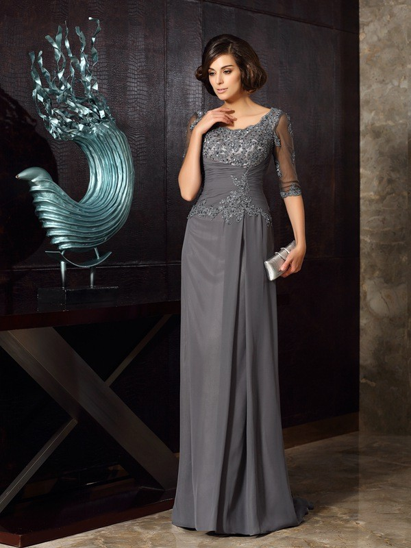 A-Line/Princess Scoop Chiffon 1/2 Sleeves Beading Applique Sweep/Brush Train Mother of the Bride Dresses