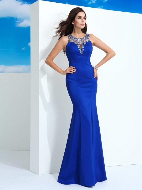 Sheath/Column Sheer Neck Sleeveless Beading Floor-Length Chiffon Dress