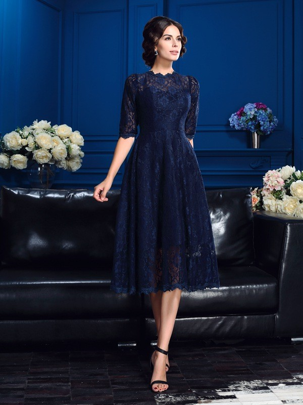 Princess Jewel 1/2 Sleeves Knee-Length Lace Mother Of The Bride Dresses
