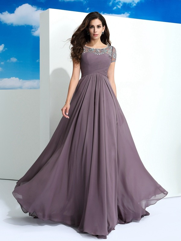 A-Line/Princess Sheer Neck Short Sleeves Beading Floor-Length Chiffon Dress