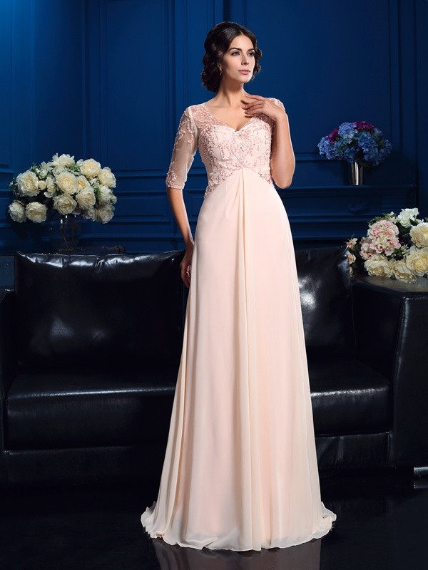 A-Line/Princess V-neck 1/2 Sleeves Beading Sweep/Brush Train Chiffon Mother Dresses