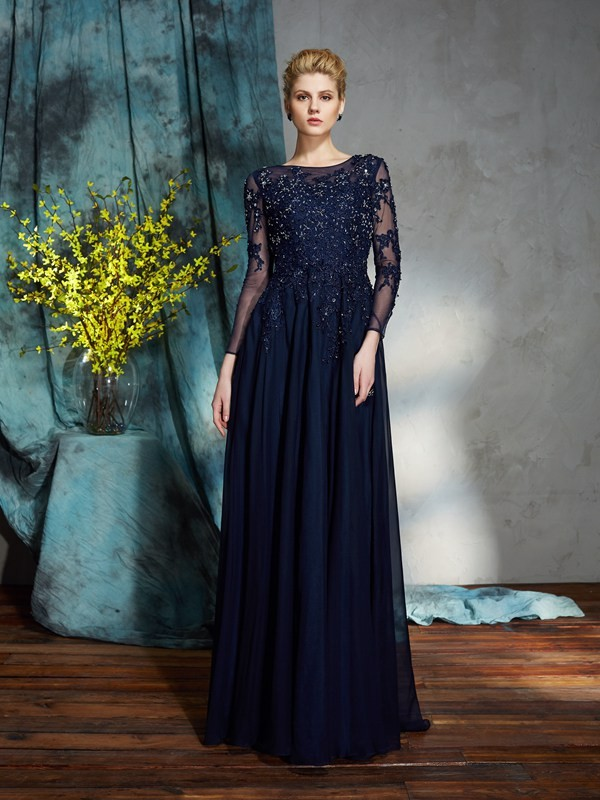 A-Line/Princess Scoop 3/4 Sleeves Applique Floor-Length Chiffon Mother of the Groom Dresses