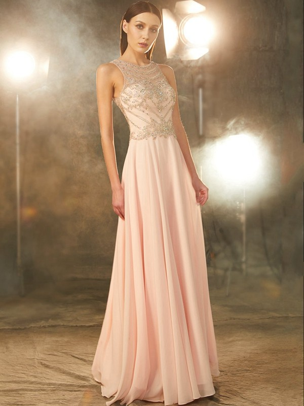 A-Line/Princess Chiffon Scoop Sleeveless Crystal Floor-length Dresses