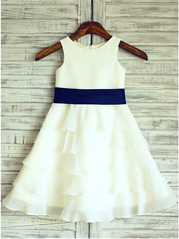 A-line/Princess Sleeveless Scoop Ruffles Tea-Length Chiffon Little Girl Dresses