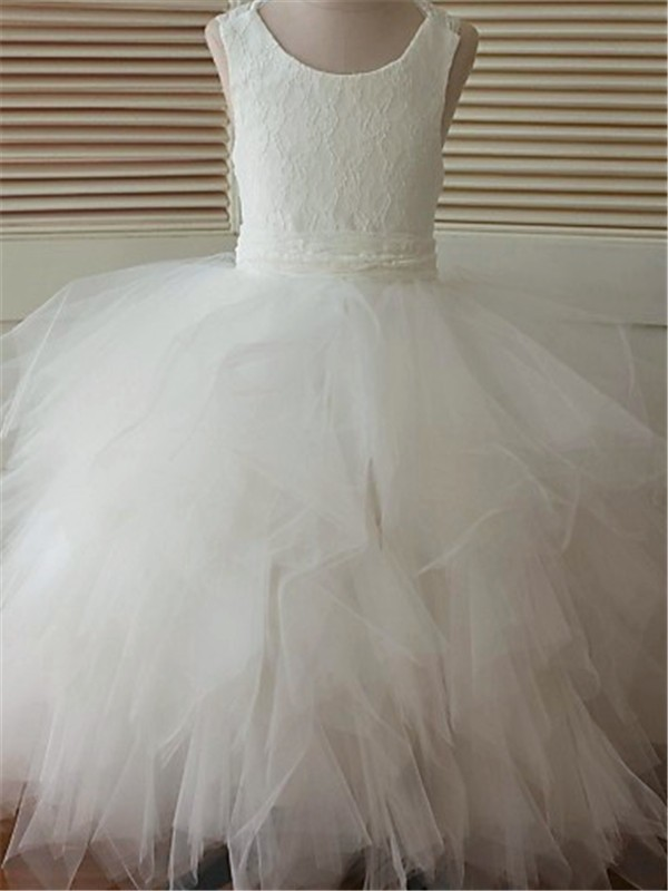 Ball Gown Scoop Sleeveless Lace Floor-Length Organza Flower Girl Dresses