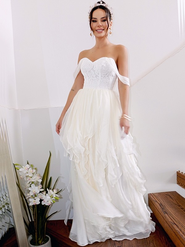 A-Line/Princess Chiffon Off-the-Shoulder Sleeveless Floor-Length Ruched Wedding Dresses