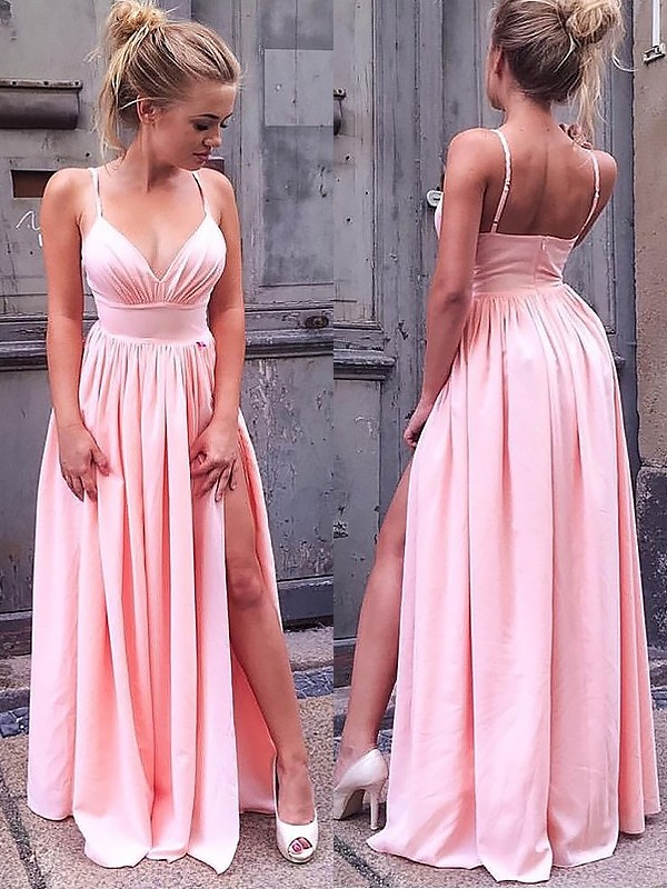 Cute A-Line/Princess Sleeveless Straps Floor-Length Ruched Chiffon Dresses