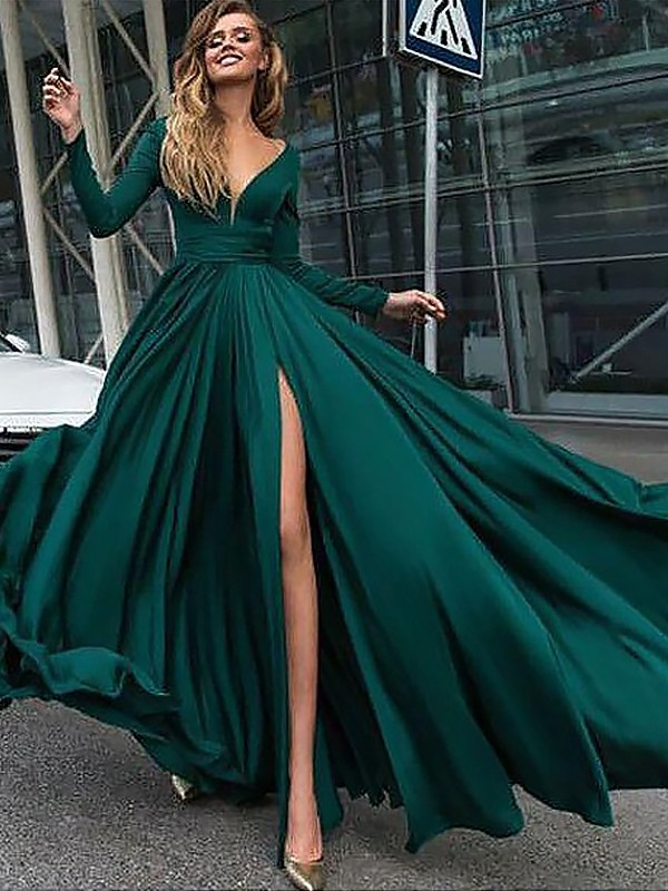 A-Line/Princess V-Neck Long Sleeves Floor-Length Satin Chiffon Ruffles Dresses