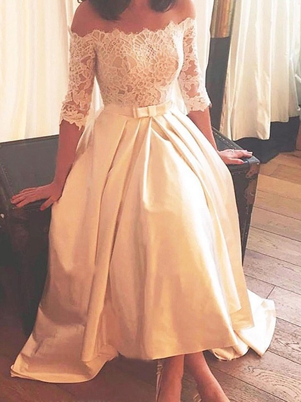 A-Line/Princess Off-the-Shoulder 1/2 Sleeves Sweep/Brush Train Asymmetrical Lace Satin Wedding Dresses