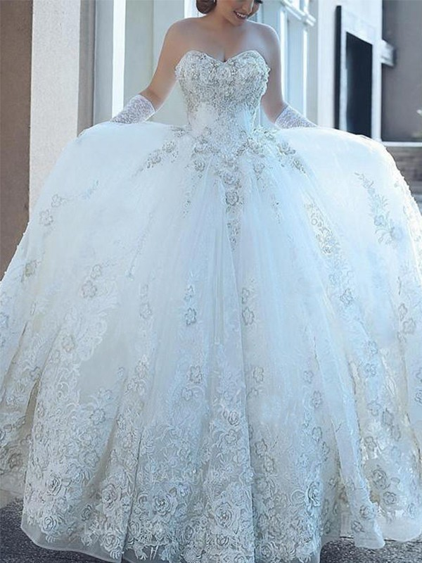 Ball Gown Sweetheart Applique Tulle Sleeveless Cathedral Train Wedding Dresses