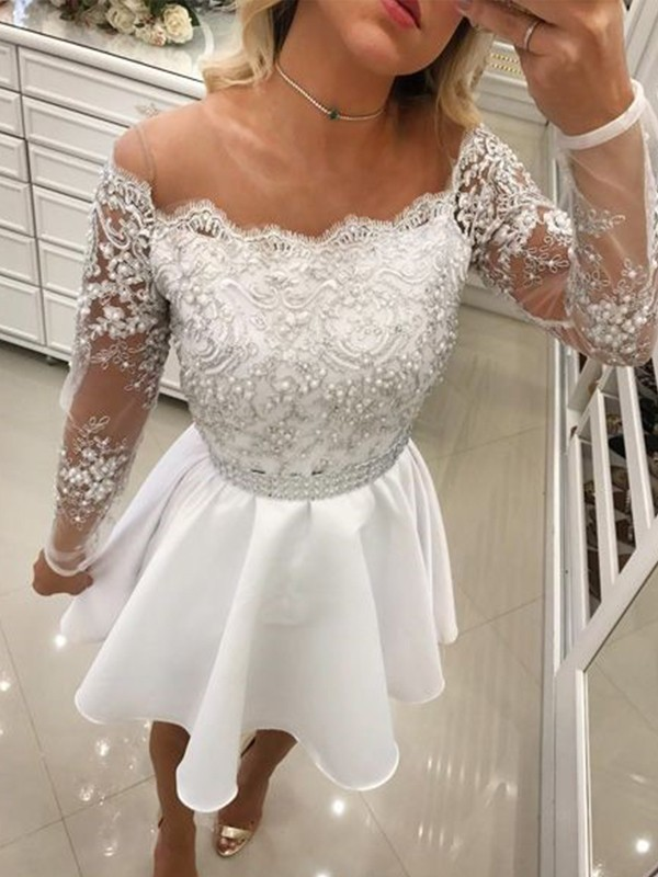 A-Line Off-the-Shoulder Chiffon Beading Short Dresses