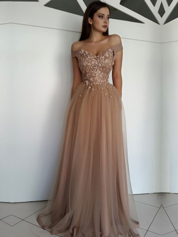 A-Line/Princess Off-the-Shoulder Sleeveless Applique Floor-Length Tulle Dresses