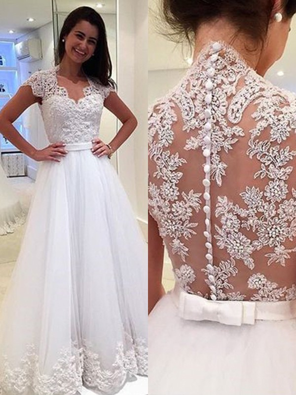 A-Line/Princess V-neck Sleeveless Applique Tulle Floor-Length Wedding Dresses