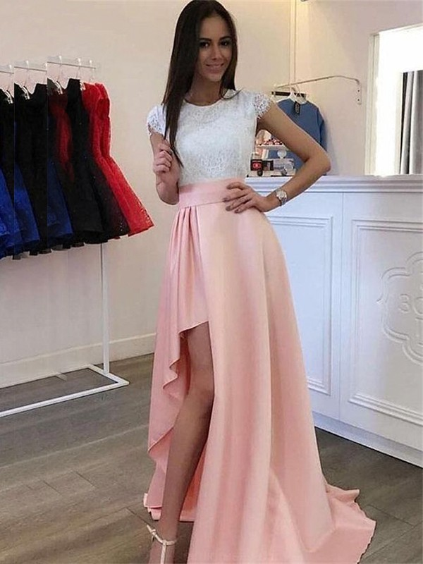 A-Line/Princess Scoop Short Sleeves Satin Lace Sweep/Brush Train Dresses