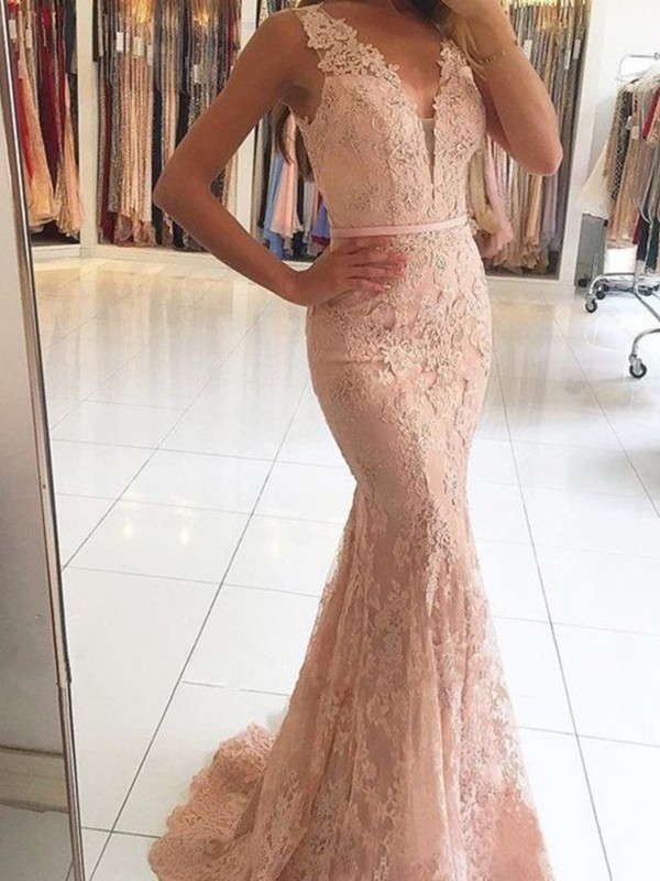 Trumpet/Mermaid Sleeveless V-neck Sweep/Brush Train Applique Lace Dresses