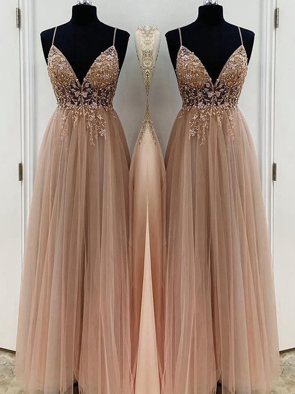 A-Line Spaghetti Straps Beading Tulle Sleeveless Long Formal Ball Dress