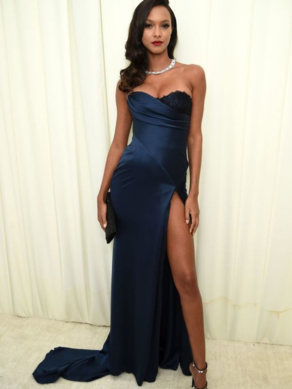 A-Line Sweetheart Neckline Satin Ruched Sleeveless Long Dresses