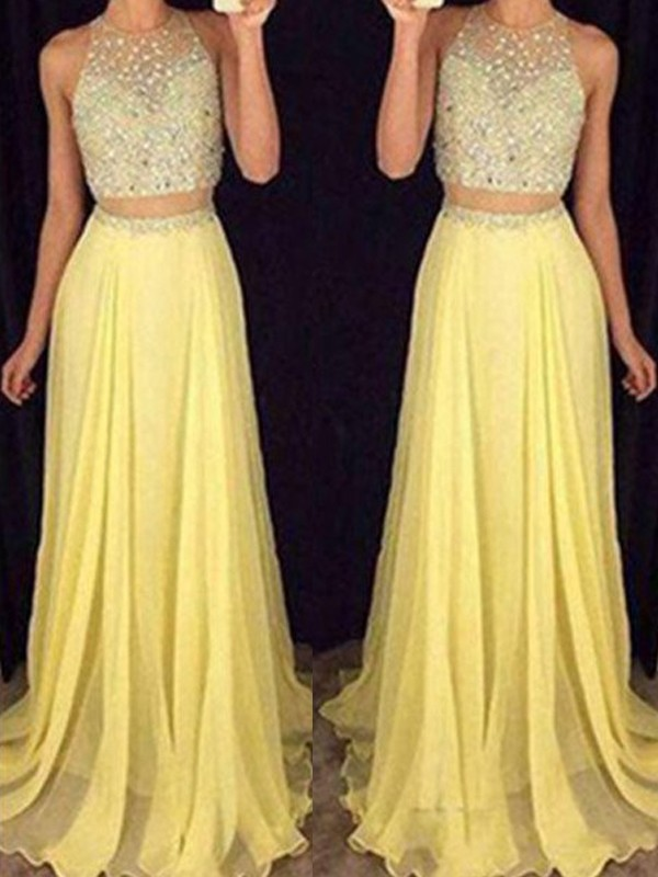A-Line/Princess Scoop Sleeveless Beading Long Chiffon Two Piece Dress
