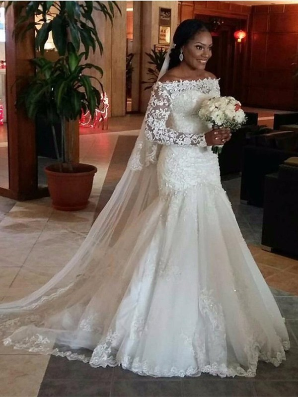 Mermaid Off-the-Shoulder Long Sleeves Lace Sweep/Brush Train Tulle Wedding Dresses