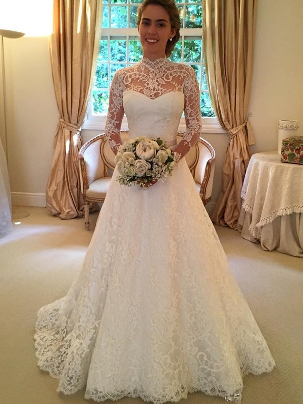 Ball Gown High Neck Long Sleeves Court Train Lace Wedding Dresses