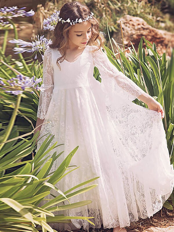 A-Line/Princess V-neck Long Sleeves Lace Floor-Length Flower Girl Dresses