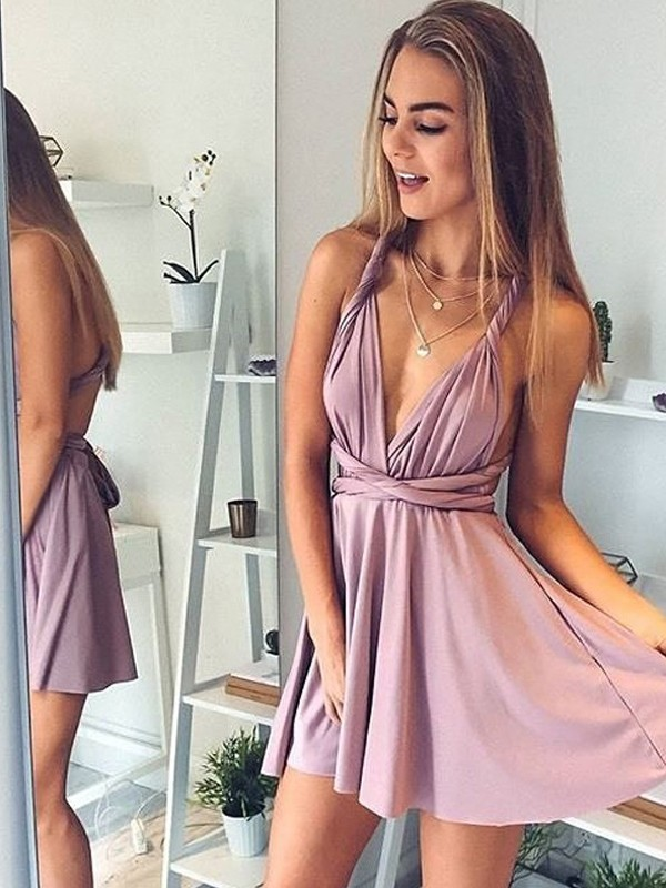 Stunning A-Line/Princess V-neck Silk like Satin Sleeveless Short/Mini Dresses