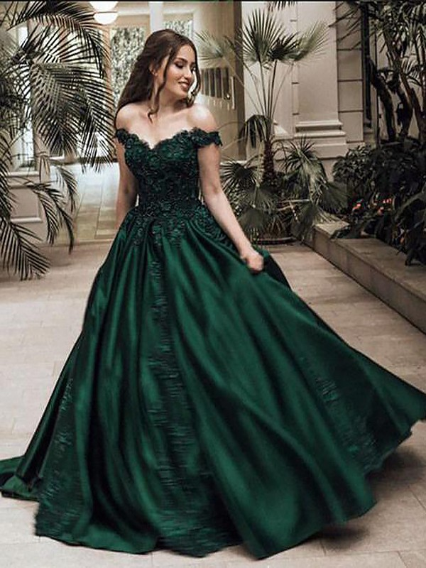 Ball Gown Off-the-Shoulder Sleeveless Floor-Length Lace Satin Dresses