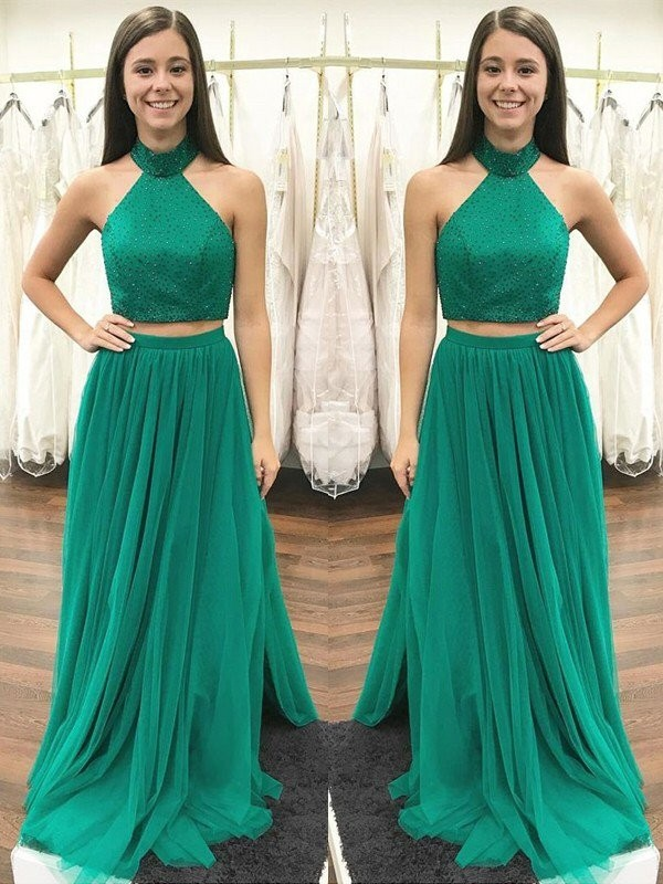 A-Line/Princess Sleeveless Floor-Length Halter Beading Tulle Two Piece Dresses