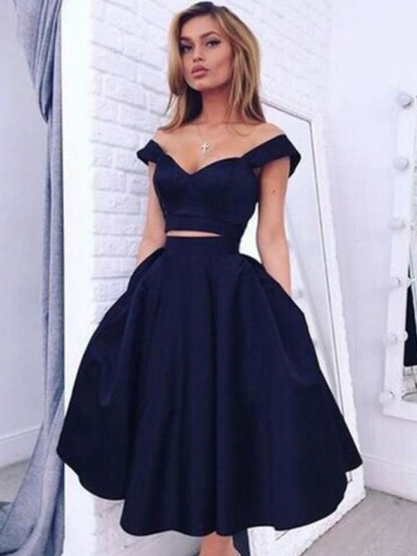 A-Line/Princess Satin Off-the-Shoulder Sleeveless Tea-Length With Ruffles Dresses