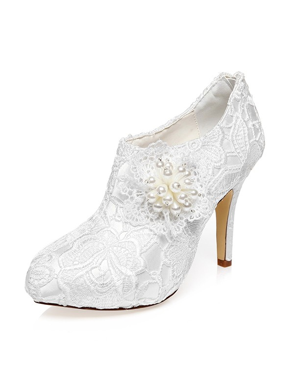 Women's Satin Closed Toe Stiletto Heel With Flower Wedding Shoes