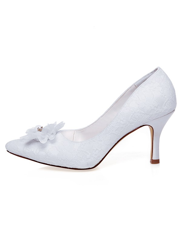 Women's Satin Closed Toe With Flower Spool Heel Wedding Shoes