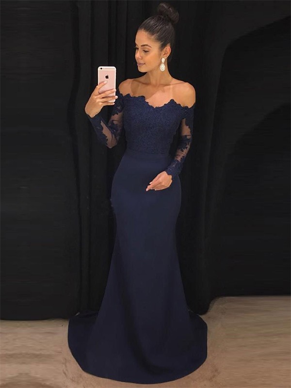 Trumpet/Mermaid Off-the-Shoulder Sweep/Brush Train Lace Satin Long Sleeves Dresses