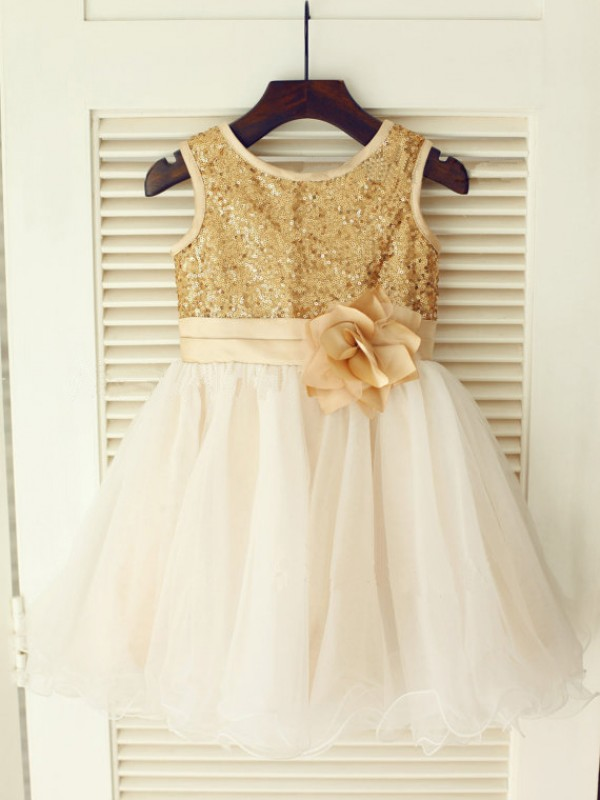 Princess Scoop Sleeveless Sequin Knee-Length Organza Dresses