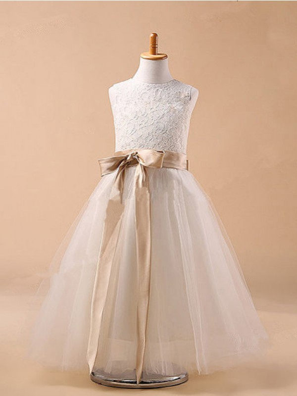 Jewel Ball Gown Sleeveless Bowknot Tulle Tea-Length Dresses