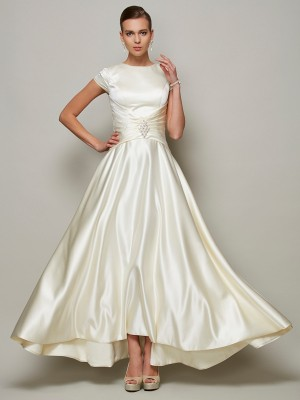 A-Line/Princess Scoop Short Sleeves Beading Satin Mother Of the Bride Dresses