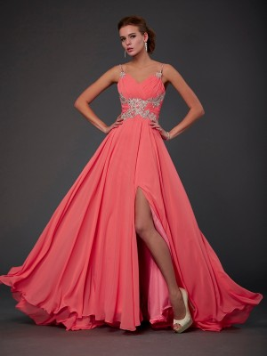 A-Line/Princess Scoop Organza Open Back Sleeveless Sweep/Brush Train Lace Dresses