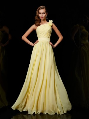 A-Line/Princess Chiffon One-Shoulder Bridesmaid Dresses