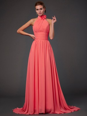 A-Line/Princess Sleeveless Halter Chiffon Bridesmaid Dresses