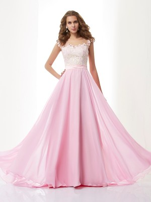 A-line/Princess Scoop Applique Beading Chiffon Sweep/Brush Train Dresses