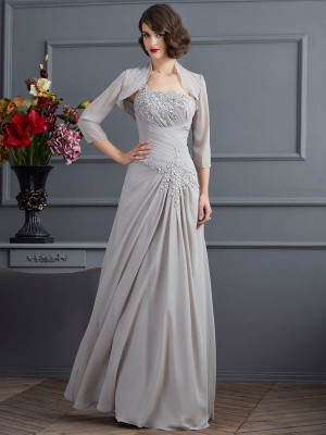 A-Line/Princess One-Shoulder Chiffon Floor-Length Mother of the Bride Dresses