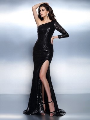 Trumpet/Mermaid One-Shoulder Long Sleeves Paillette Sweep/Brush Train Lace Gowns