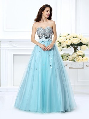 Ball Gown Sweetheart Sleeveless Beading Paillette Floor-Length Satin Dresses